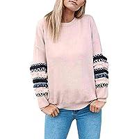 Damen Casual Rundkragen Pullovershirt mit Designer Spleiß Ärmel Locker Herbst Pulli Jumper Sweatshirt Bluse Outwear Teenager Mädchen Sport Langarmshirt Oberteile