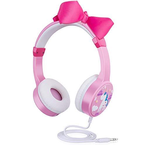 Kinder Kopfhörer, Kabel Kopfhörer mit 85db Volume Limited, Kopfhörer für Kleinkinder mit Musik-Audio teilen Port, Einstellbar Leichtgewicht kopfhörer für 3 bis 12 Jahre alte Mädchen -Rosa