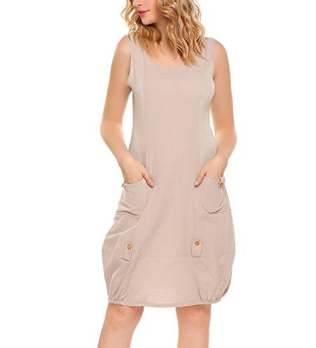 ANGVNS Damen Leinenkleid Rundhals Ärmellos Casual Sommerkleid Baumwolle  mit Taschen 200aa03354