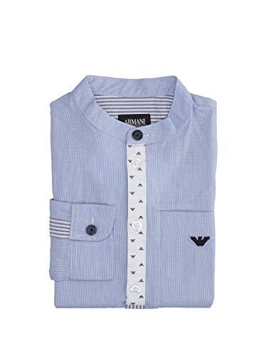 Armani junior camicia mille righe con collo coreano 3z4c054nfjz blu 8a/32