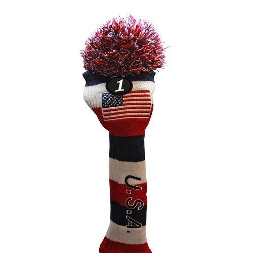 Majek USA Hybrid Golf Rescue Pom Pom Knit Utility Club Head Cover Usa-hybrid