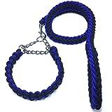 YAWJ Hundehalsband, Nylon, Stereotypisiert, gewebt, für mittelgroße und große Hunde WEI (Farbe : Blue Black, größe : M)