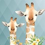 anna wand Bordüre selbstklebend JOLLY JUNGLE - Wandbordüre Kinderzimmer / Babyzimmer mit Tieren in Dschungeltieren in mehrfarbig auf Graublau – Wandtattoo Schlafzimmer Mädchen & Junge, Wanddeko Baby / Kinder