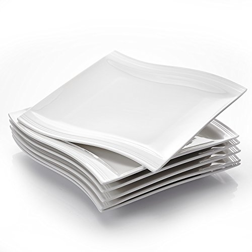 MALACASA, Serie Flora, 12 teilig Set Cremeweiß Porzellan Kuchenteller Dessertteller Frühstücksteller 8,25 Zoll / 21x21,5x2,5cm für 12 Personen