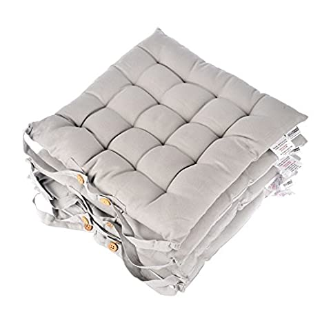 Homescapes Grey Seat Pads for Dining Chair, Set of 4 100% Cotton Chair Pads with Straps, 40x40 cm