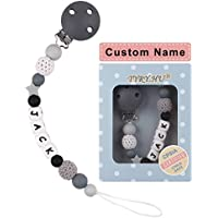 Teething Dummy Clips Personalised Name TYRY.HU Teething Pain Relief Toys Food Grade Silicone Chewable Beads BPA Free Binky Holder Set for Newborn Toddler Baby Shower Gift(Grey)