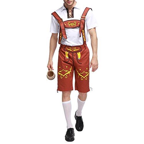 FYMNSI Herren Oktoberfest Beer Bavarian Guy Hosen Kostüm Set Kurze Hose Trachtenhose Oberteil Hemd Deutsche Bayerischer Biermann Herrenkostüm Komplett-Set Verkleidung für Fasching Karneval Party (Guy Kostüm Oktoberfest)