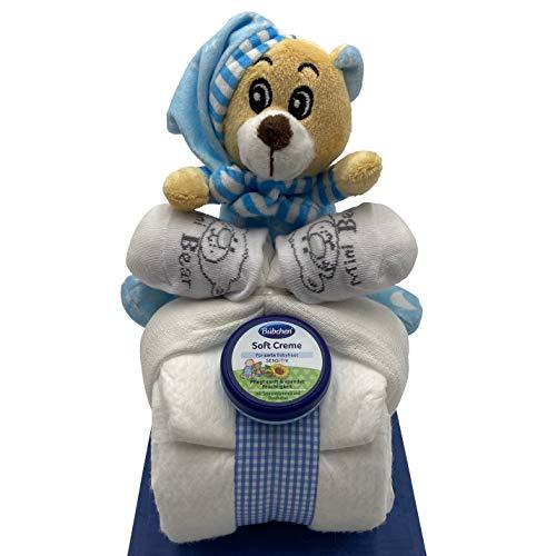 Windeltorte Windelmotorrad blau für Jungen – mit Teddybär / Das perfekte Geschenk zur Geburt oder Taufe + gratis Grußkärtchen - 4
