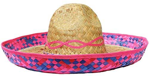 Mexikanische Sonnenblume Sombrero Deluxe Stroh Hut Fancy Kleid Kostüm von Ilovefancydress® erhältlich in vielfachen von: X1-X6-X12-X24-x48-X100, rose, PACK OF 48