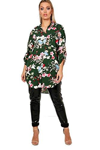 Kaki Femmes Plus Tracy Floral Oversized Shirt Kaki