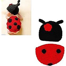 Hrph Disfraz de animal suave infantil hecho a mano de punto de lana recién nacido del ganchillo del escarabajo fotografía apoya la ropa del bebé