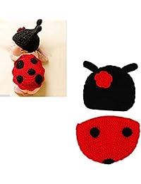 Rokoo Disfraz de animal suave infantil hecho a mano de punto de lana recién nacido del ganchillo del escarabajo fotografía apoya la ropa del bebé