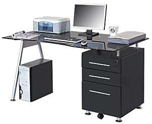 SixBros. Office - Scrivania ufficio porta pc vetro/nero - MBJ-01B/70