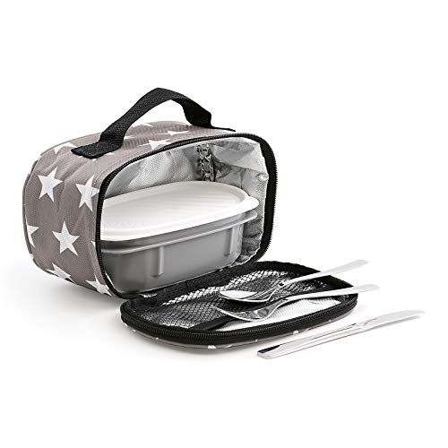 TATAY Urban Food MiniPlus Stars Grey - Bolsa Térmica Porta Alimentos con Táper Hermético Ovalado y Cubiertos Incluidos, Color Negro, Medidas 21.5 x 9 x 12 cm