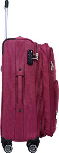 BEIBYE 8009 TSA Schloß Stoff Trolley Reisekoffer Koffer Kofferset Gepäckset (Rot, M) - 3