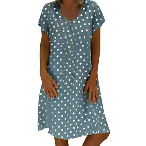 QIMANZI Kleider Damen Sommer StilV-Ausschnitt Gedruckt Baumwolle und LeinenBeiläufig Übergröße Kleid(B Blau,M) -