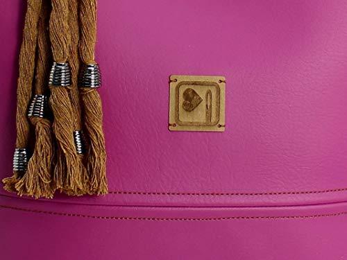Handtasche Damen, Magenta, Pink, Lila, mit Kordel, handmade - 4