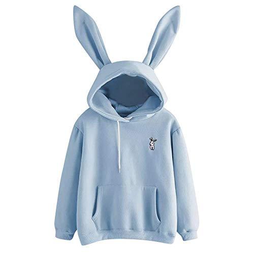 ZHRUI Mode Winter Herbst Hoodie Jumper Womens Casual Langarm Sweatshirt Kapuzen Damen Pullover mit Hasenohren (Farbe : Blau, Größe : M)