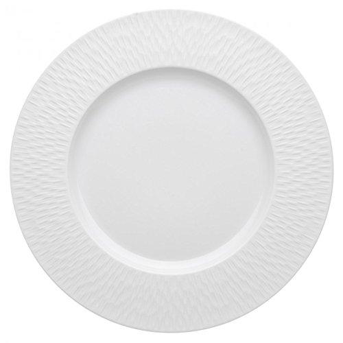 DEGRENNE - Boreal Satin Lot de 3 assiettes de présentation, porcelaine 33 cm - Blanc