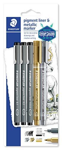 et (3 Fineliner pigment liner schwarz, 2 metallic marker, Johanna Basford) 308 SBK3P3 ()