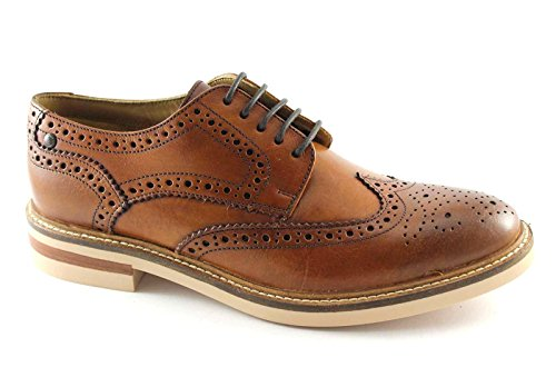 Base London Mens Apsley Hi-Shine Lace Up Leather Brogue Oxford Shoes