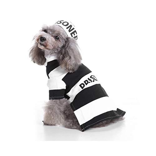 LCWYP Haustier Halloween Haustier Kostüm Katzen Gefängnis Uniform Cosplay Mantel Hunde Party Kleidung Für - Weibliche Gefängnis Kostüm