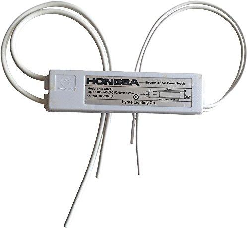 hb-c02te 3KV Netzteil für Glas Neon Elektronischer Neon Light Trafo mit Schrumpfschlauch Schutz Rohr, Weiß (Abgedeckt Rohr)