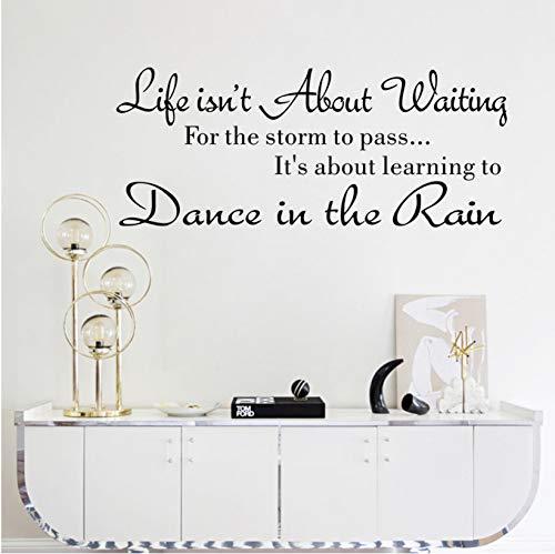 Alfabeto frasi Stickers murali La vita non si tratta di aspettare Adesivi murali Citazione Dancing in rain 3D Wall Decal Parole Home Decor