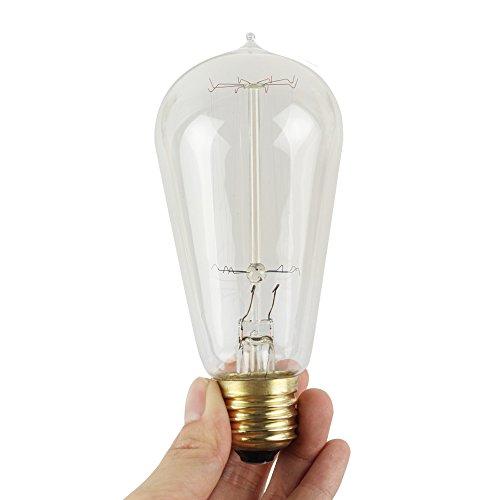 CXC 3 × E27 Glühlampe Vintage Edison Glühbirnen Wassertropfen Kopf Wolfram Dimmbar 40W 220V 58 * 125Mm Warme Farbe Glas Antik Lampe (Kopf Wolfram)