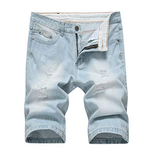 MONDHAUS Herren Sommer Kurze Jeans Shorts Destroyed Jeans Kurze Hose Jeanshose Chinos Cargo Hose 5-Pocket Destroyed Used Stretch Freizeithose Bermuda Slim Fit LN1977 -