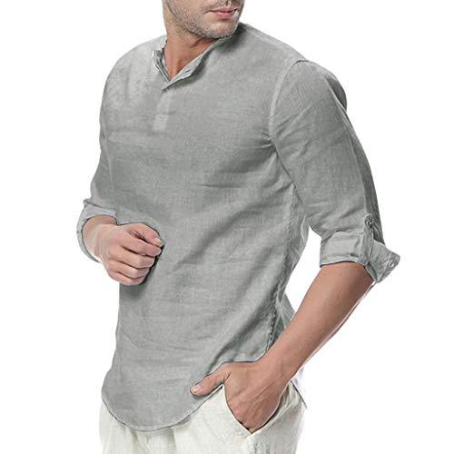 ZHANSANFM Herren Leinenhemd Button Down Stehkragen T-Shirt Leinen und Baumwolle mit Pocket Langarm Shirt Einfarbig Einfach Top Sommer Gentleman Hemden (XL, Grau) -