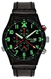Astroavia Herren-Armbanduhr Alarm Chronograph Quarz mit Leder Armband P4BL