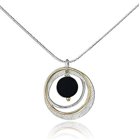 Deux tons Onyx Noir Multi Cercles Collier Argent Sterling 925et en or 14K Pendentif, 45,7cm + Rallonge de 10,2cm