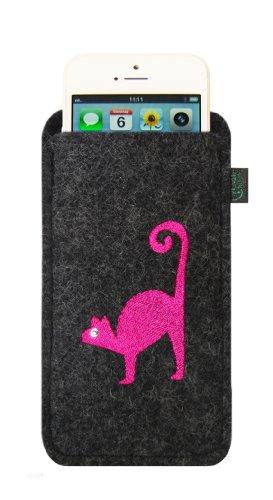 Filztasche für iPhone SE und iPhone 5/S, anthrazit, Motiv Katze, hochwertig bestickt und verziert mit Swarovski® Kristall; Filzfarbe anthrazit