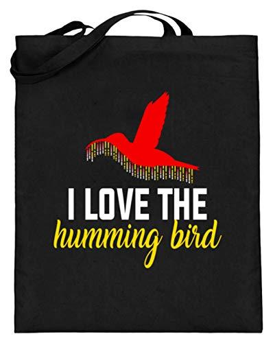 Hochwertiger Jutebeutel (mit langen Henkeln) - Ich Liebe Den Kolibri - I Love The Humming Bird - Schlichtes Und Witziges Design -