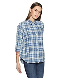 GAP Womens Checkered Regular Fit Cotton Shirt (83720264900_Big Blue Plaid_XXS)