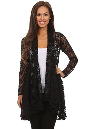 Langarm Maxi Cardigan aus Spitze, Boho Style Strickjacke, Crochet Haekelspitze festlicher Abendmantel, Top Blumen-Muster, Farbe schwarz, Size 36