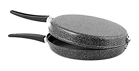 Home Stone Double Sided Omelette Pan with Non-stick Coating, Stone, Charcoal color, 14 cm