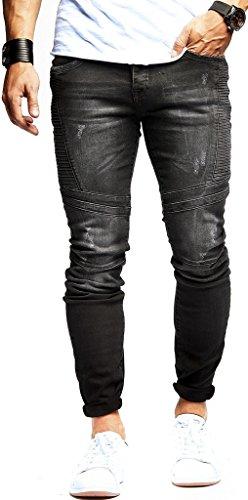 LEIF NELSON Herren Jeanshose Biker Jeans Gesteppt Hose Stretch Schwarz Denim Slim Fit LN9920SC; W29L32, Blau |