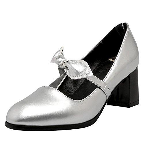 Mee Shoes Damen chunky heels Schleife Geschlossen Pumps Silber