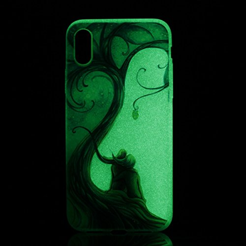 inShang iPhone X 5.8 inch Custodia [Trasparente cover iPhone X 5.8 inch] [luminoso nel buio], comoda Cover posteriore di case di stile di protezione Couple tree