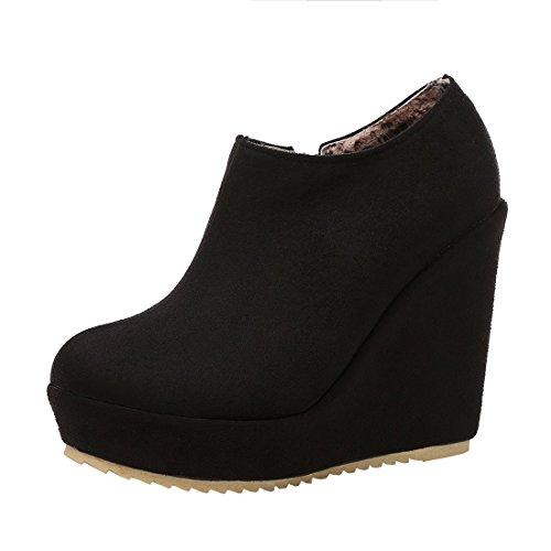 YE Wedges Stiefeletten Damen Ankle Boots Keilabsatz High Heels Plateau Knöchelstiefel Elegant...
