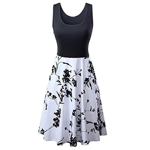 promo code 77193 95170 Zegeey Damen Sommerkleid äRmellose Blumendruck A-Linie Partykleid Minikleid  Strandkleider Casual Vintage(Weiß,