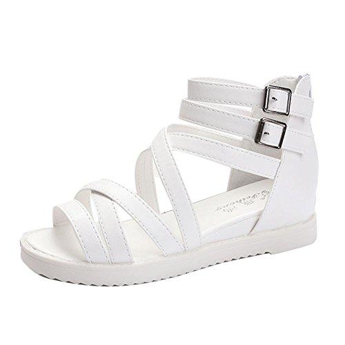 Transer® Damen Sandalen Niedrige Ferse Römische Gürtel Netz PU-Leder+Gummi Schwarz Weiß Sandalen (Bitte achten Sie auf die Größentabelle. Bitte eine Nummer größer bestellen) Weiß