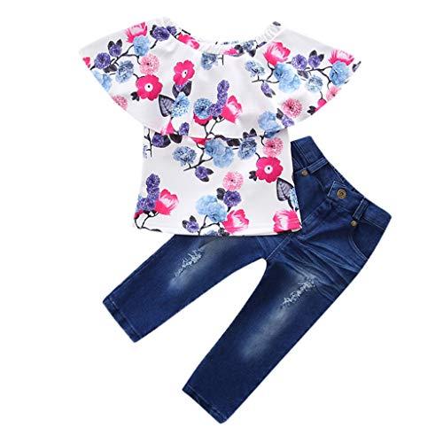 (JUTOO Kleinkind Kids Baby Girl Schulterfrei Floral T-Shirt Tops + Jeans-Set (Mehrfarbig,110))