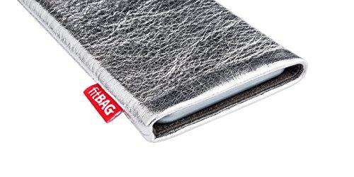 fitBAG Groove Silber Handytasche Tasche aus feinem Folienleder Echtleder mit Microfaserinnenfutter für Apple iPhone 5 Groove Silber
