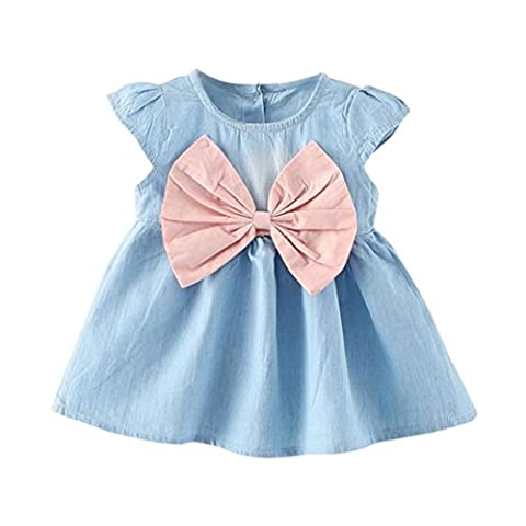 Girls Dress, Transer® Baby Girls Bowknot Solid Dress 0-24 Months Toddler Child Denim Clothes Newborn Infants Outfit Dress (0-6 Months, Pink)