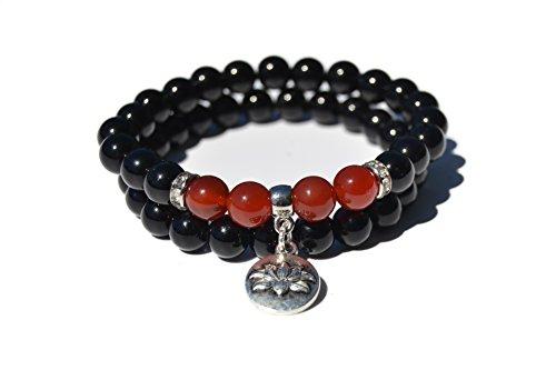 Pulsera Ágata roja y Ágata negra Calidad AAAAA moda yoga chakra Unisex, cuentas de piedra natural,Hombre Mujer ideal reiki chakras yoga meditación