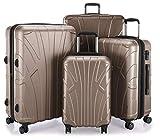 SUITLINE 4er Set Hartschalen Erweiterbar (S, M, L & XL), TSA, Koffer, 85 cm, 384 Liter, Gold