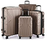 Suitline - 4er Set aus Handgepäck, mittelgroßer Koffer, großer Hartschalen-Koffer, übergroßer Reisekoffer Trolley Rollkoffer, TSA, 100% ABS Matt, Gold
